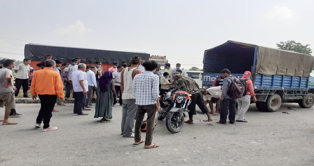 One person was injured when a motorcycle and a mini truck collided in Dhangadhi